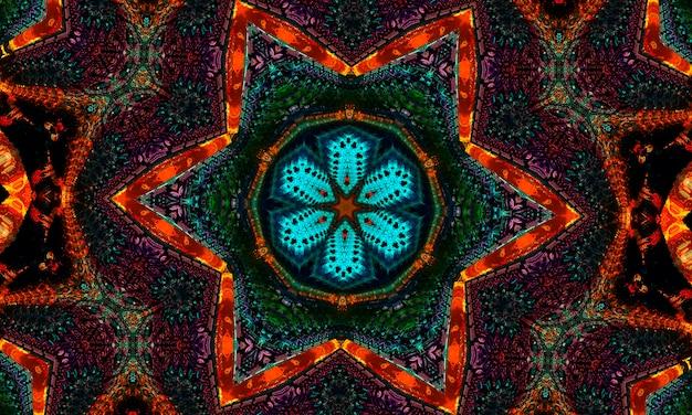 Gloeiende oranje ster op jade achtergrond. magische vorm. kaledoscooppatroon voor het vervaardigen van verpakkingen, scrapbooking, cadeaupapier, boeken, boekjes, albums