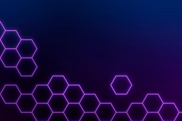 Gloeiende paarse neon zeshoekige patroon achtergrond