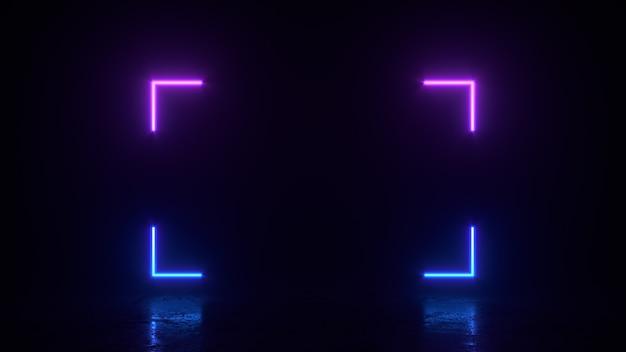 Gloeiende rechthoek vierkante lijnen