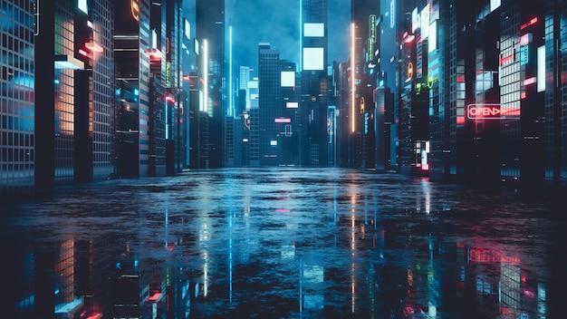 Gloeiende reclameborden en billboards in de stad met lichtreflectie op natte straat