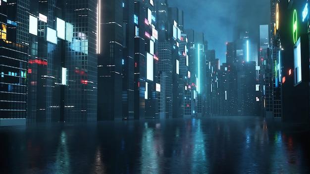 Gloeiende reclameborden en billboards in stad met lichtreflectie op natte straat