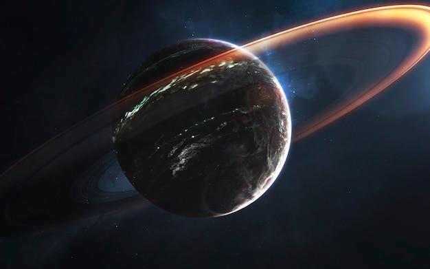 Gloeiende ringen van gasreus, geweldig sciencefictionbehang, kosmisch landschap. elementen van deze afbeelding geleverd door nasa