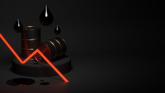 Gloeiende rode dalende olieprijsgrafiek met druppels en vlekken van olie