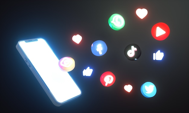 Gloeiende social media iconen en logo's rond smartphone 3d