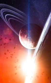 Gloeiende ster in diepe ruimte