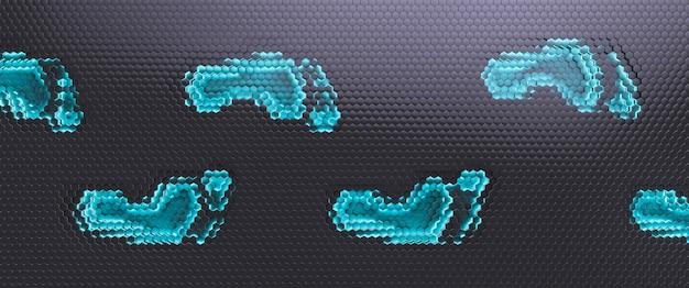 Gloeiende voetafdrukken op defocused grijs. cyber veiligheidsconcept.