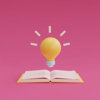 Gloeilamp die van open boek op roze achtergrond drijft