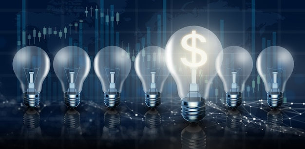 Gloeilamp een ander gloeiend idee voor het maken van geld en groei van het dollarkoersconcept