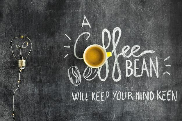 Gloeilamp gemaakt met draad en tekst geschreven op schoolbord