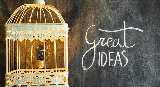 Gloeilamp in de verlichte kooi met grote ideeënentekst op bord