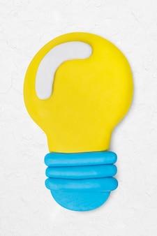 Gloeilamp klei icoon schattig handgemaakt marketing creatieve ambachtelijke afbeelding