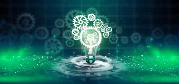 Gloeilamp met tandwiel erin business idee lamp versnelling mechanisme pictogram netwerkverbinding