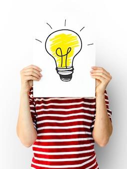 Gloeilamp pictogram idee gedachten visie ontwerp