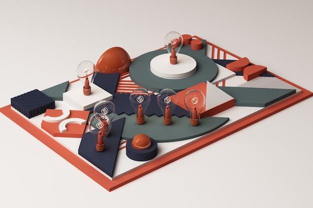 Gloeilampen concept abstracte compositie van geometrische vormen platforms in blauwe en oranje toon. 3d-weergave
