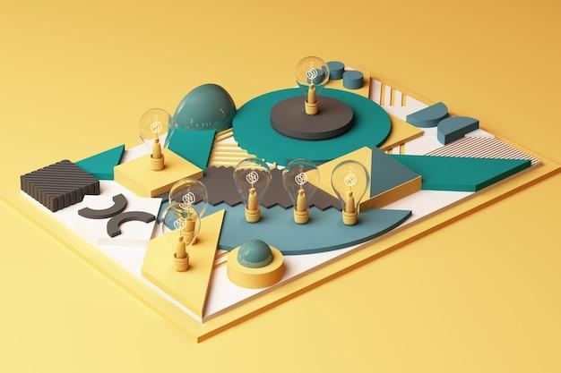 Gloeilampen concept abstracte compositie van geometrische vormen platforms in groene en gele toon. 3d-weergave