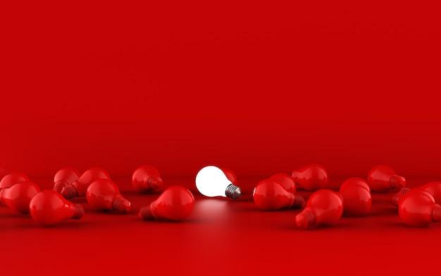 Gloeilampen op rode achtergrond. idee-concept. 3d illustratie.