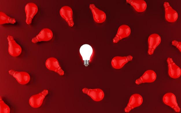 Gloeilampen op rood. idee concept. 3d illustratie.