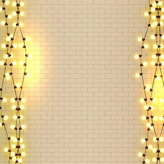 Gloeilampen realistische retro slingerachtergrond met gloeiende lichten op witte bakstenen muur