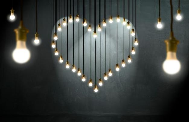 Gloeilampenhart, zolderstijl, valentine en liefdeconcept.