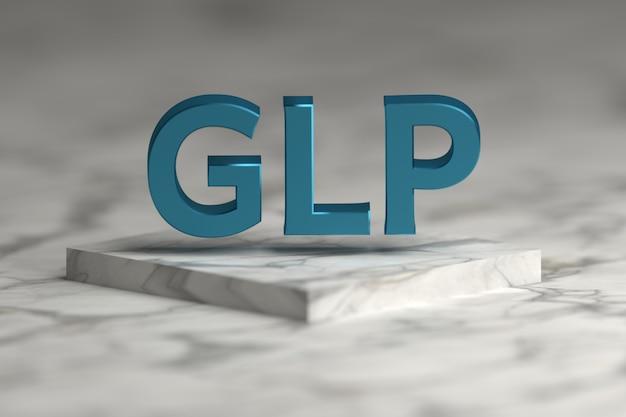 Glp-brieven in blauwe glanzende metaaltextuur die over marmeren voetstukpodium vliegen. glp - standaardconcept voor goede laboratoriumpraktijken voor presentatie.