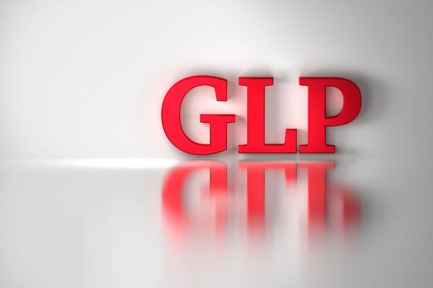 Glp, goede laboratoriumpraktijk, rode glanzende letters weerspiegeld op het witte oppervlak.