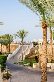 Goed verzorgd parkgebied van vijfsterrenhotel in sharm el sheikh.