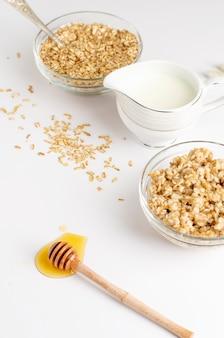 Goede voedingsmenu voor het ontbijt met havermoutpap, melk en honing