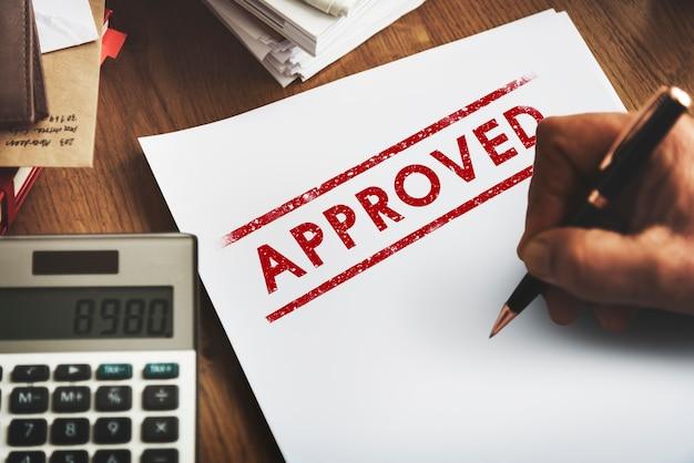Goedgekeurde overeenkomst geautoriseerde stempel mark concept