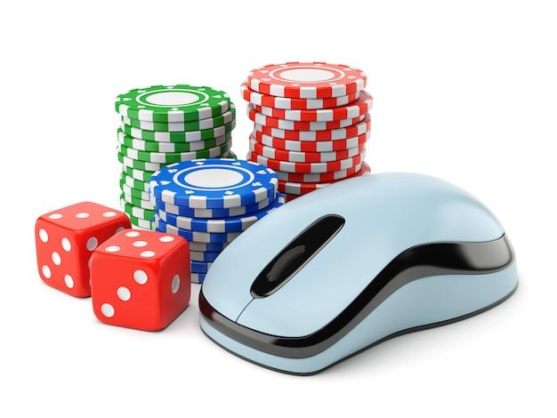 Gokken chips en dobbelstenen met computermuis