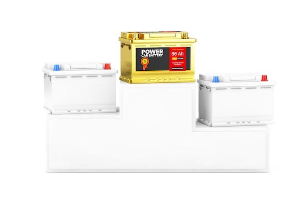 Golded oplaadbare auto batterij 12v accu met abstracte label en twee andere in clay style over sport winnaar podium voetstuk op een witte achtergrond. 3d-rendering