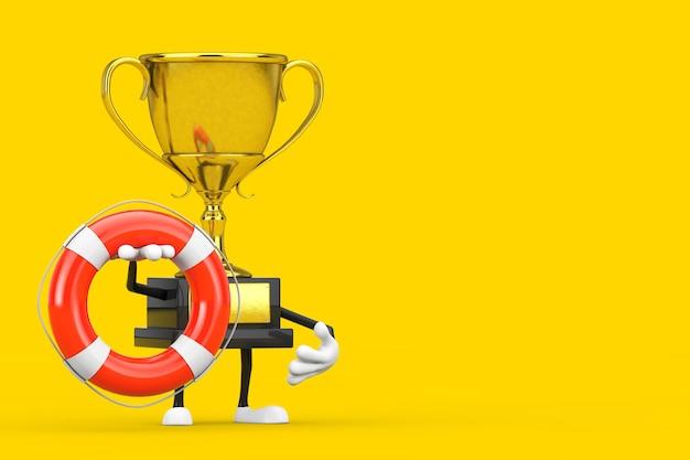 Golden award winnaar trofee mascotte persoon karakter met reddingsboei op een gele achtergrond. 3d-rendering