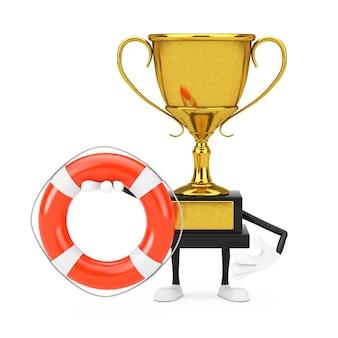 Golden award winnaar trofee mascotte persoon karakter met reddingsboei op een witte achtergrond. 3d-rendering