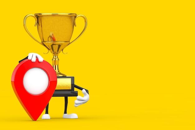 Golden award winnaar trofee mascotte persoon karakter met rode doel kaart aanwijzer pin op een gele achtergrond. 3d-rendering