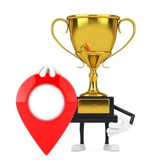 Golden award winnaar trofee mascotte persoon karakter met rode doel kaart aanwijzer pin op een witte achtergrond. 3d-rendering