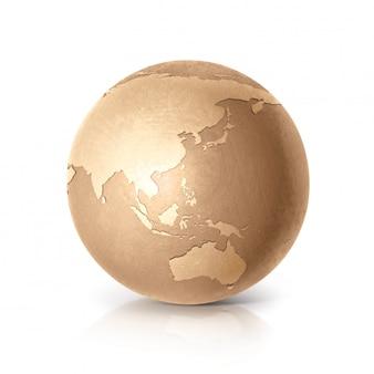 Golden globe 3d illustratie azië & australië kaart op wit geïsoleerd