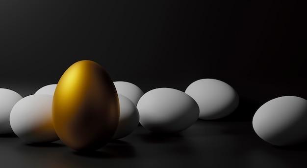 Golden goose eggs op papier zwarte achtergrond met kopie ruimte 3d render