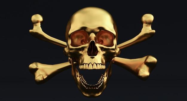 Golden skull and crossbones geïsoleerd op een zwarte achtergrond.