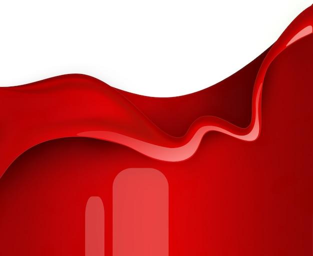 Golf van rode verf op witte achtergrond