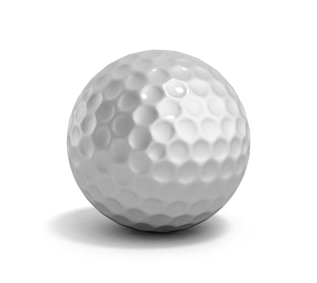 Golfbal 3d render op wit