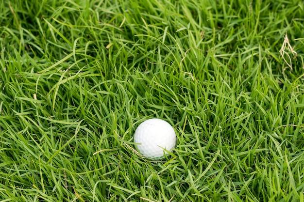 Golfbal op groen gras in golfbaan