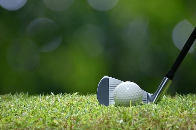 Golfbal op groen gras klaar om op de achtergrond van de golfcursus worden geslagen