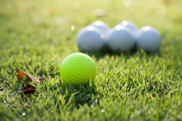 Golfbal op het groene veld.