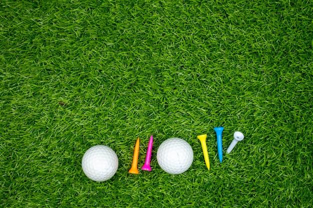 Golfballen en t-stukken zijn op groen gras.