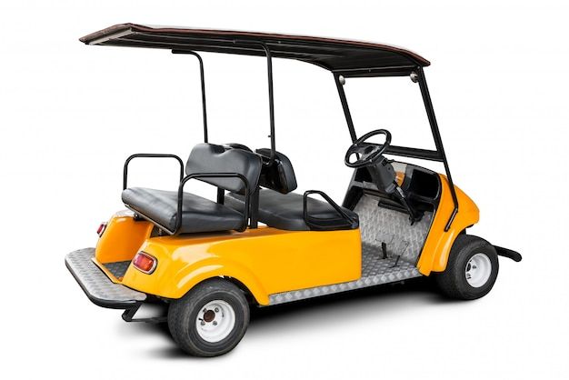 Golfkar of golfauto op witte achtergrond met het knippen van weg wordt geïsoleerd die