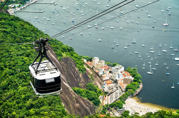 Gondel voor suikerbroodberg in rio de janeiro, brazilië