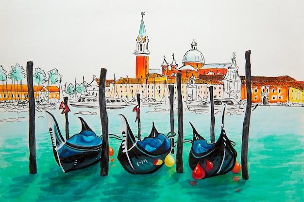 Gondels afgemeerd door het san marcoplein met de san giorgio di maggiore-kerk in de lagune van venetië, italia. foto gemaakte markeringen