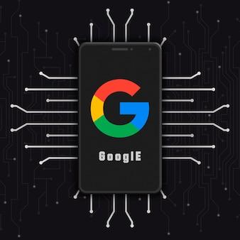 Google-logo pictogram op het telefoonscherm op technische achtergrond 3d