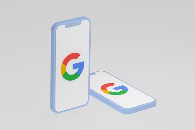 Google-pictogram op scherm mobiele telefoons 3d render