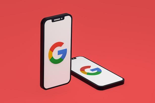 Google-pictogram op scherm smartphone of mobiele telefoon 3d render