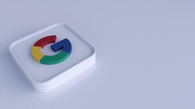 Google plus vierkante knoppictogram 3d met exemplaarruimte. 3d-weergave